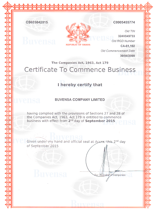 certificate of commencement of business